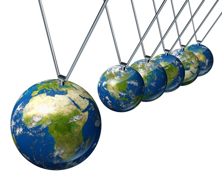 pendulum: World economy pendulum with African industry affecting the economies and financial politics of north america and europe as well as the rest of the world powers. Stock Photo
