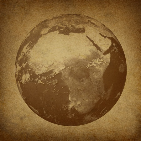 featured: Planet Earth featuring Africa and the middl east featured countries including Egypt Libya Kenya on a grunge old parchment paper texture.
