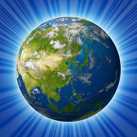 푸른 바다와 방사형 배경에 고립 구름에 둘러싸인 중국 일본 한국, 인도 등 아시아 대륙을 갖춘 지구 모델 행성. 스톡 콘텐츠 - 10909989