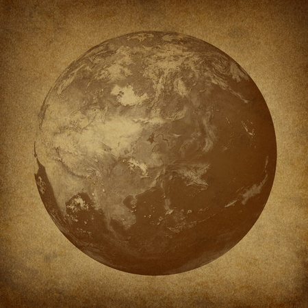 featured: Planet Earth featuring Asia featured countries including Japan China Korea on a grunge old parchment paper texture.
