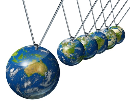 World economy pendulum with Australia industry affecting the economies and financial politics of north america and europe as well as the rest of the world powers. Stock Photo - 10909958