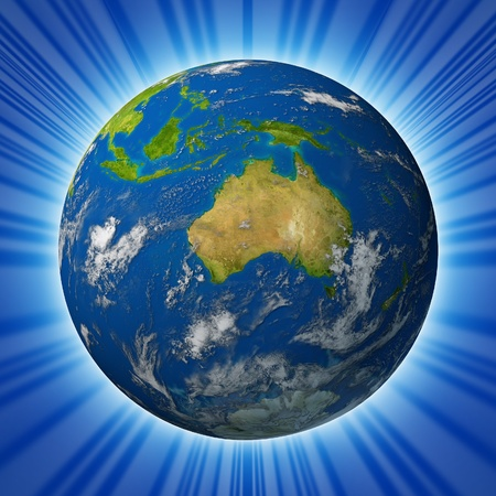geography: Earth model planet featuring The continent of Australia surrounded by blue ocean and clouds isolated on radial background. Stock Photo