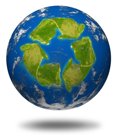 international recycle symbol: Global warming symbol represented by an earth sphere model and a recycle icon shaped continent with oceans and clouds. Stock Photo