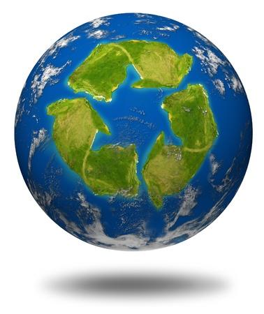 desechos toxicos: Símbolo del calentamiento mundial representado por un modelo de esfera de tierra y un continente de icono con forma de reciclar con los océanos y las nubes.