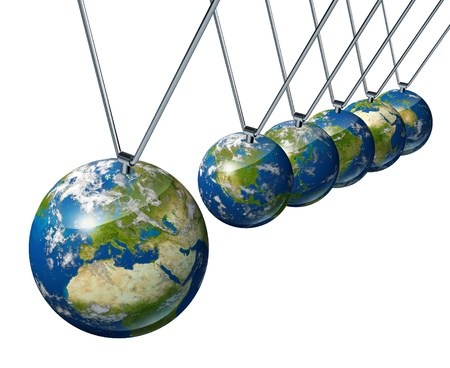 pendulum: World economy pendulum with Europe industry affecting the economies and financial politics of north america and asia as well as the rest of the world powers.