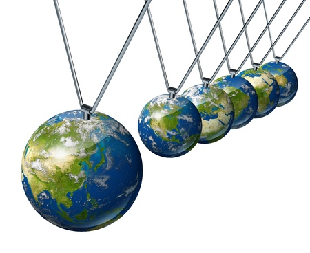 pendulum: World economy pendulum with asia industry affecting the economies and financial politics of north america and europe as well as the rest of the world powers.
