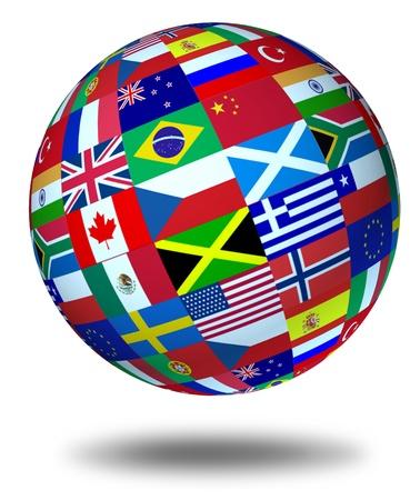 negocios internacionales: Banderas del mundo esfera flotante y aislaron como un s�mbolo que representa la cooperaci�n internacional global en el mundo de los negocios y Asuntos pol�ticos.