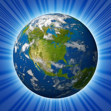 Planeet aarde met Noord-Amerika met de Verenigde Staten Canada en Mexico omgeven door blauwe oceaan en wolken geïsoleerd op radiale achtergrond. Stockfoto