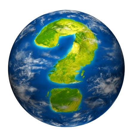 unsure: Earth question symbol represented by a world globe model with a geographic shape of a mark questioning the state of the environment the international economy and political situation.