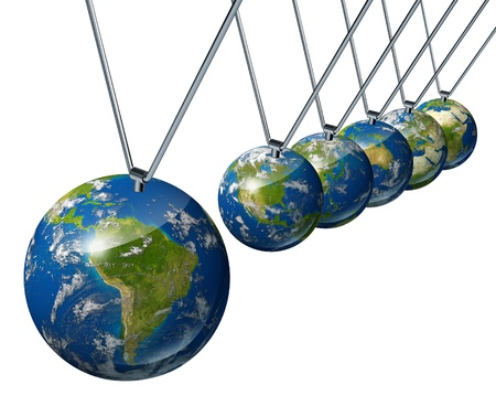 pendulum: World economy pendulum with south america industry affecting the economies and financial politics of north america and europe as well as the rest of the world powers.