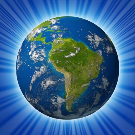 青い海と雲の放射状の背景上に分離されて囲まれて南アメリカおよびラテン アメリカの国の特徴地球惑星。 写真素材