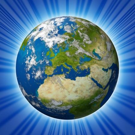 geografia: El planeta Tierra con Europa y países de la Unión Europea como Francia Alemania Italia e Inglaterra, rodeado por el océano azul y las nubes aisladas en el fondo radial.