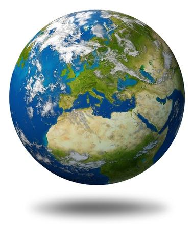 globo terraqueo: El planeta Tierra con Europa y países de la Unión Europea como Francia Alemania Italia e Inglaterra, rodeado por el océano azul y las nubes aisladas en blanco.
