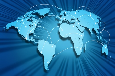 international internet: Global internet connections around the world connecting social media sites and web portals from international technology providers and communication hubs. Stock Photo