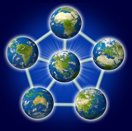 Global networking symbol represented by different earth sphere regions connected together in a web of interconnected business and political economy. Stock Photo - 10909975