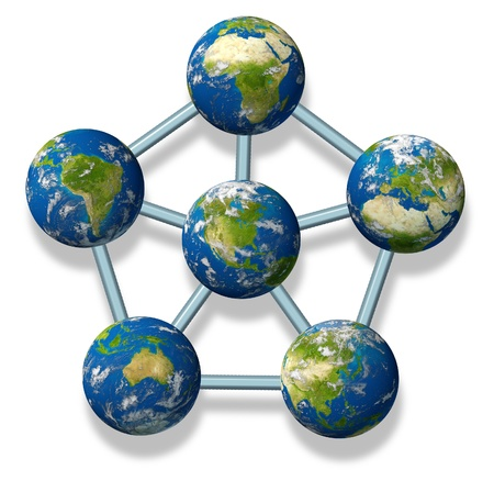 interconnected: International networking symbol represented by different earth sphere regions connected together in a web of interconnected business and political economy. Stock Photo