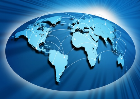other world: Global networking symbol of international comunication featuring a world map concept with connecting technology communities using computers and other digital devices.. Stock Photo