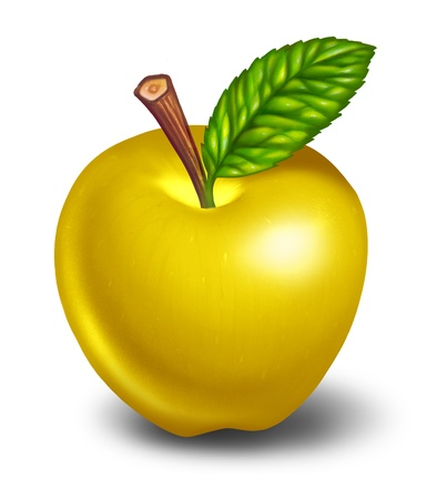 good health: Gouden appel symbool voor de prijs voor een goede gezondheid en de genezing en de oplossing voor elk probleem of uitdaging.