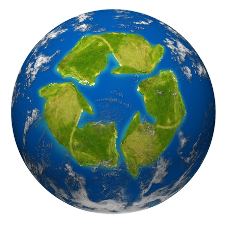 Green earth environment symbol represented by the planet with a recycle shaped continent. Stock Photo - 10909976