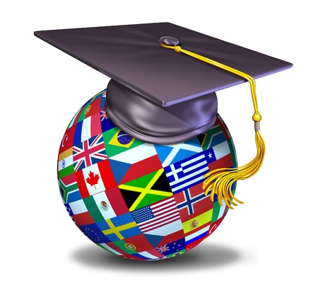 alumni: International education symbol with graduation cap and mortar board on a sphere with flags of the globe. Stock Photo