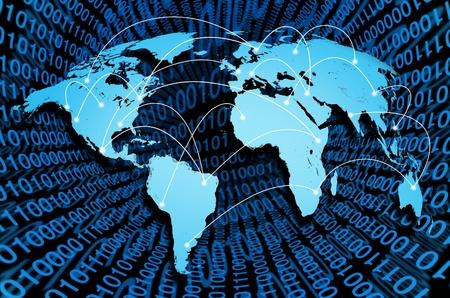 네트워크 통신의 개념을 대표하는 세계 각국의 디지털 연결과 글로벌 인터넷.