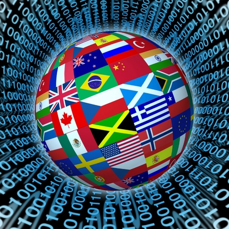 international internet: World sphere with international flags on a background with a binary code representing global communications. Stock Photo