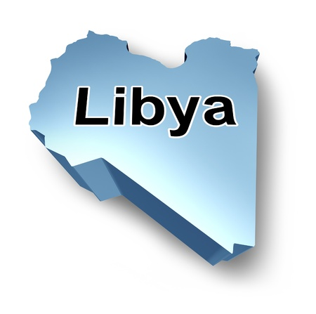 Libya country in isolated dimensional view with the name of the nation.