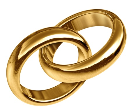 eternal: Wedding rings linked together representing the concept of eternal love and the start of a new life and relationship.