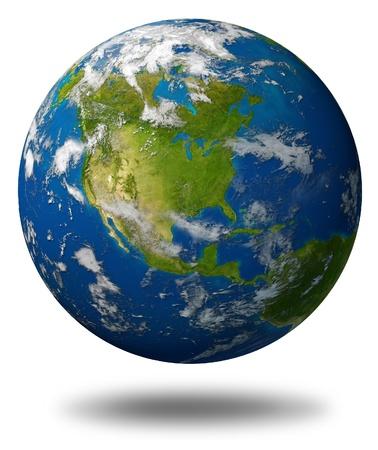 Planeet aarde met Noord-Amerika met de Verenigde Staten Canada en Mexico omgeven door blauwe oceaan en wolken op wit wordt geïsoleerd. Stockfoto