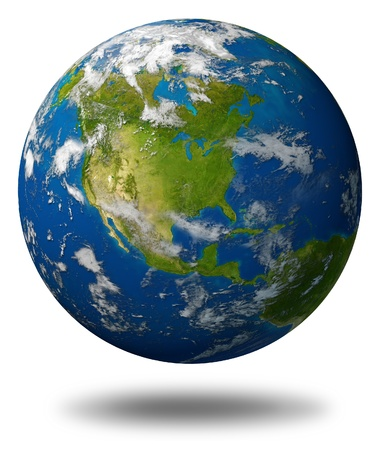 Earth planet featuring North america with the United States Canada and Mexico surrounded by blue ocean and clouds isolated on white. Standard-Bild