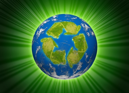 international recycle symbol: Green planet symbol represented by the environmental concept of a recycle icon shaped continent on an earth sphere model.