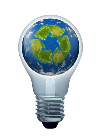 Green solutions and energy saving ideas symbol represented by a light bulb and a recycle icon shaped continent on an earth sphere model. Stock Photo - 10909924