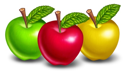 Apples of different colors with red fruit in front and natures green and yellow treats in the background. photo