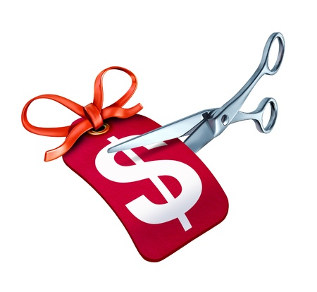 liquidation: Scissors cutting a price tag with a dollar symbol representing a sale  with a bargain reduction in cost. Stock Photo