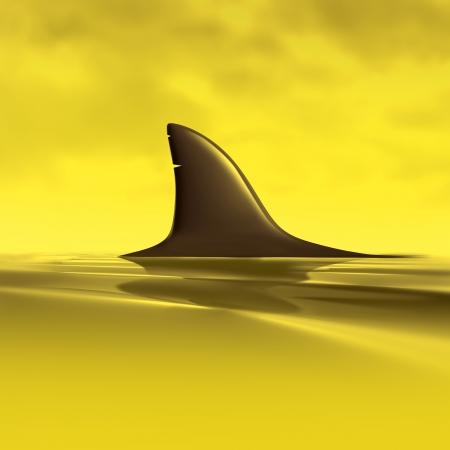 hunted: Risk symbol with shark fin above water representing future danger and risk from business and financial predators. Stock Photo