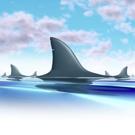 aletas: Los tiburones dando vueltas por encima de las aletas de agua que representan peligro y el riesgo futuro de un grupo de depredadores.