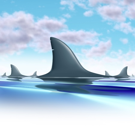 hunted: Sharks circling fins above water representing future danger and risk from a group of predators.