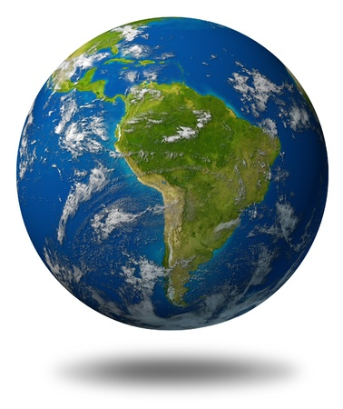 Planeet aarde met Zuid-Amerika en Latijns-Amerikaanse landen omgeven door blauwe oceaan en wolken op wit wordt geïsoleerd.