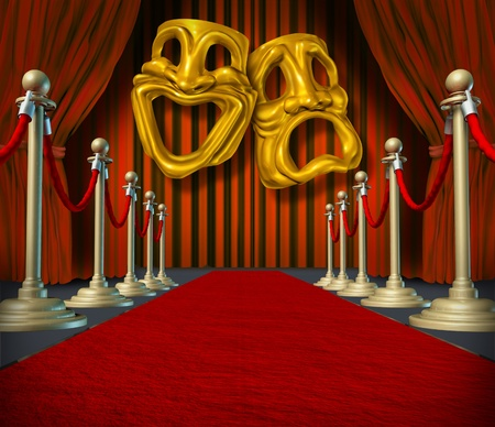 Theater stage with gold comedy and tragedy symbol on red velvet cinema curtain drapes and brass dividers on rich carpet. photo