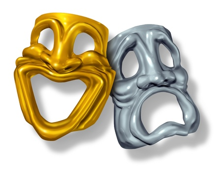 Comedy and tragedy symbol with a happy mask of gold and a sad face made of silver.