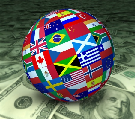 World economy symbol represented by a global sphere with international flags sitting on a floor of currency. photo