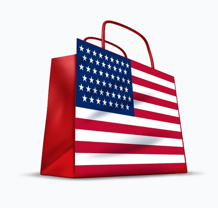 materialism: American consumer symbol with a shopping bag  and the U.S. flag.