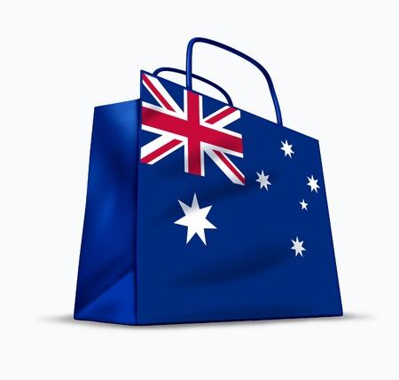 australia flag: Australian shopping symbol represented by a bag with the flag of Australia. Stock Photo