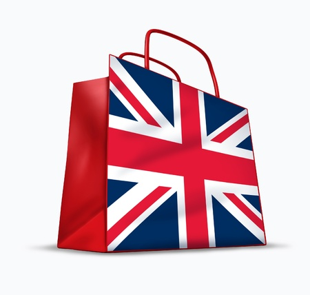 british people: British shopping symbol represented by a bag with the flag of England.