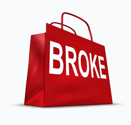 foreclosure: Broke and bankrupt symbol represented by a red shopping bag.