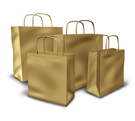 Shopping bags in a group representing liquidation sales of goods and services. Stock Photo - 10976368