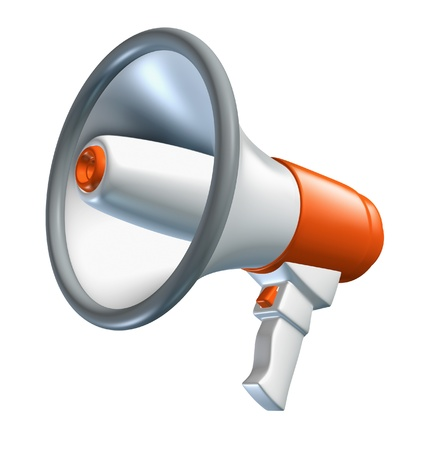 public address: Announcement with bullhorn and megaphone symbol representing the concept of sound and promotion.
