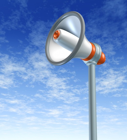 Announcing and presenting using a bullhorn and megaphone representing communication and advertising. Stock Photo - 10976380