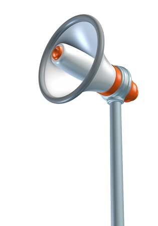 Announcing and presenting using a bullhorn and megaphone representing communication and advertising. Stock Photo - 10976359