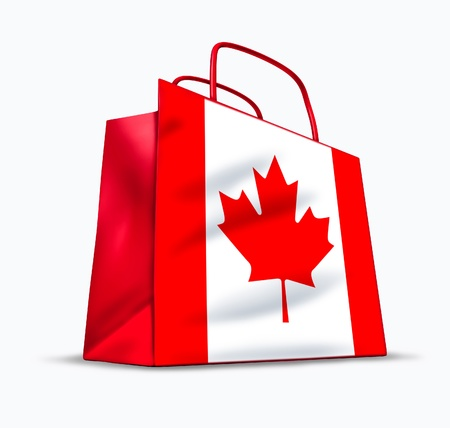 Canadian shopping symbol represented by a bag with the maple leaf and the flag of Canada. Stock Photo - 10945888
